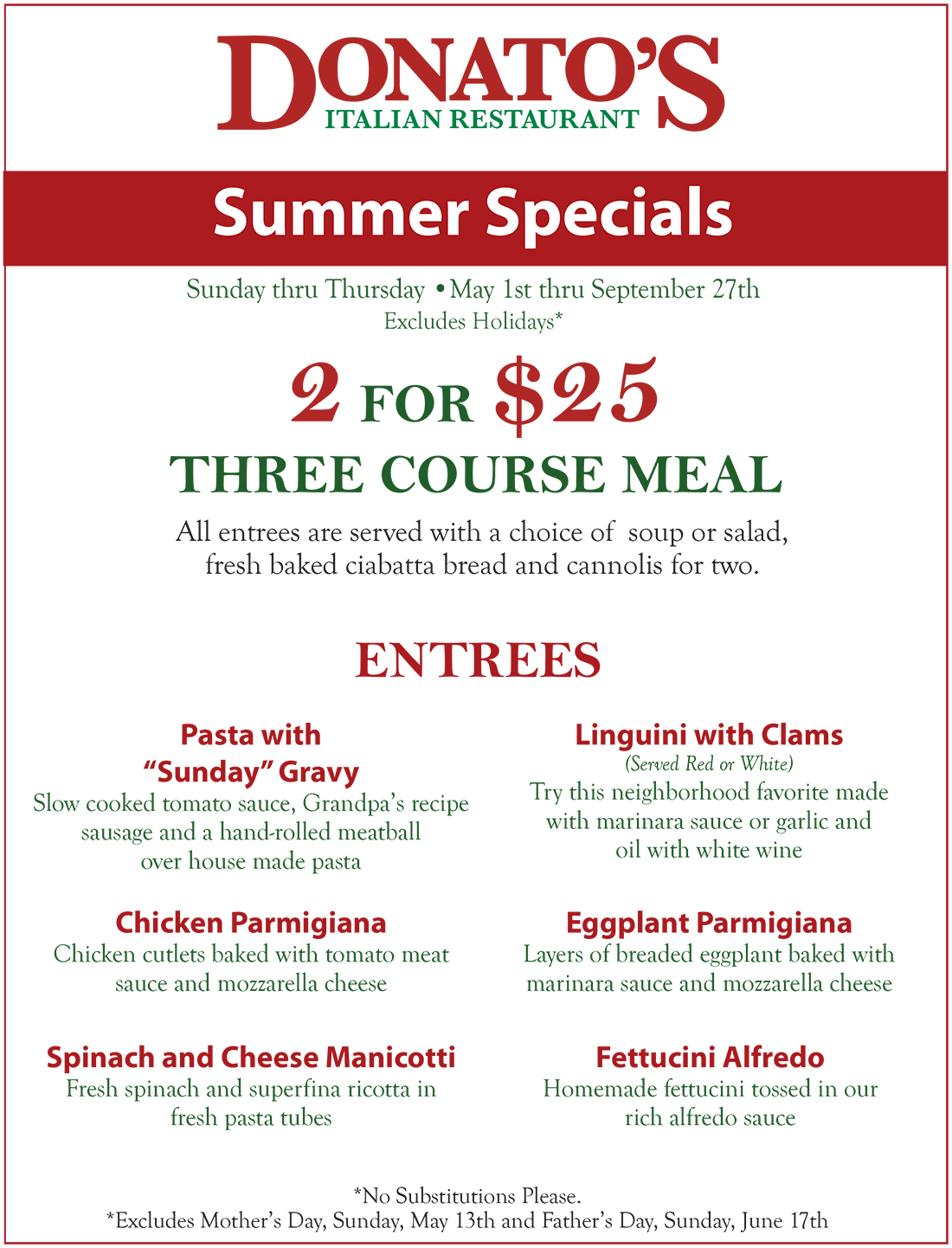 2 For 25 Summer 2018 Specials Donato S Italian Restaurant 1900 Tamiami Trail Port Charlotte Fl